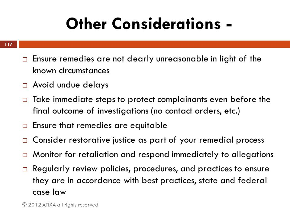 Other Considerations -