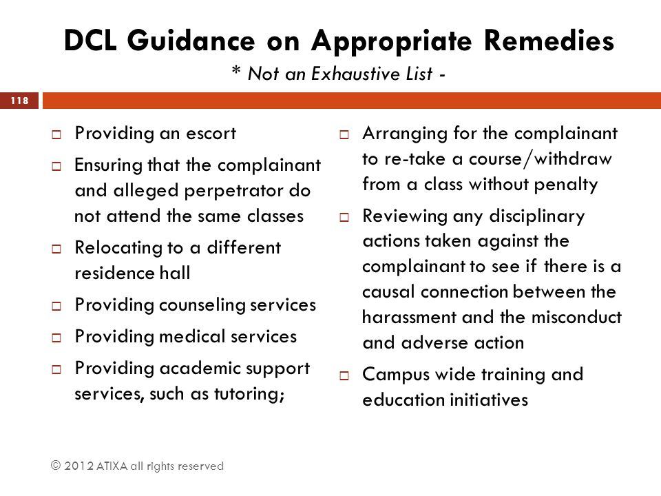 DCL Guidance on Appropriate Remedies * Not an Exhaustive List -