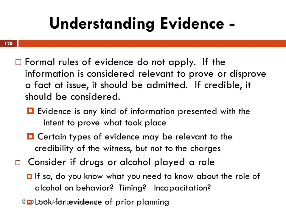 Understanding Evidence -