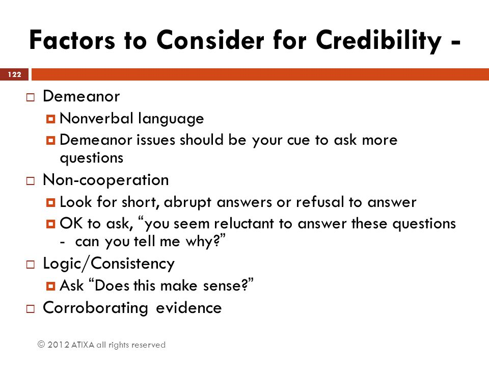 Factors to Consider for Credibility -
