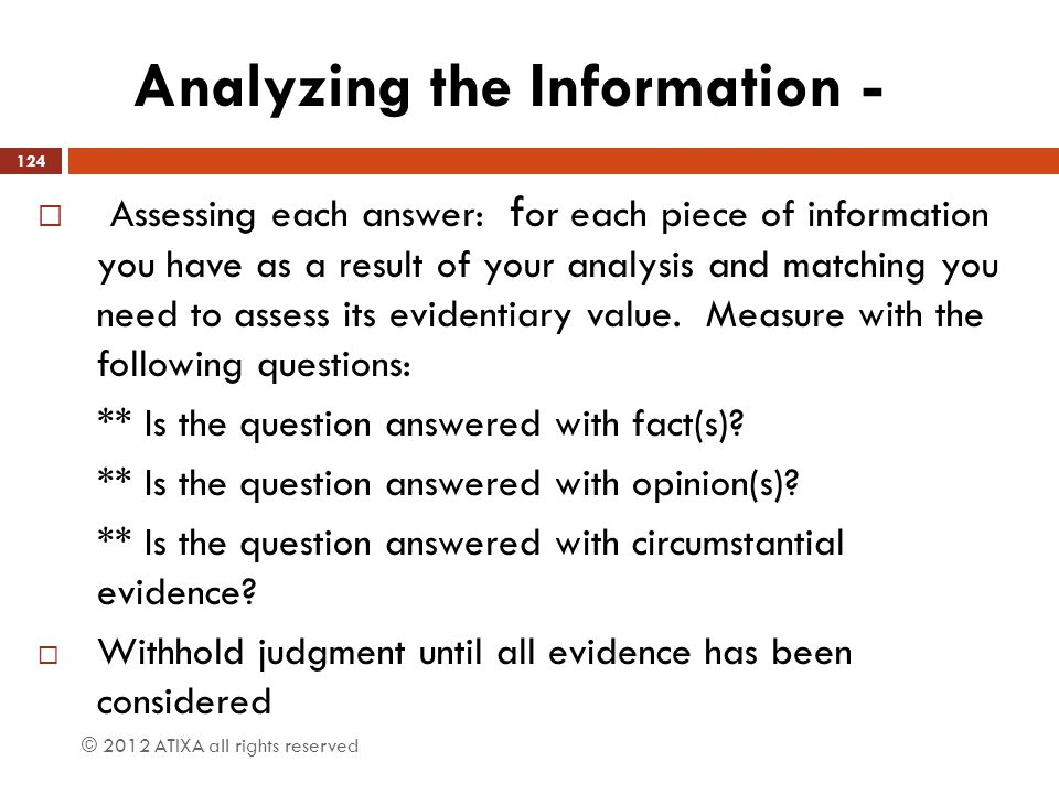 Analyzing the Information -