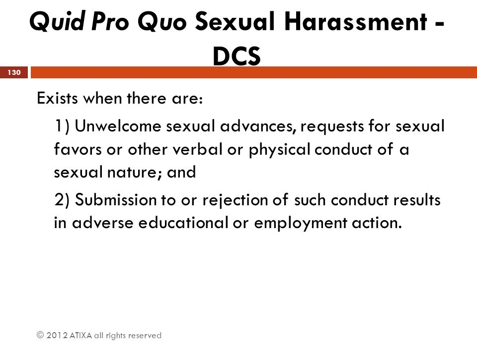 Quid Pro Quo Sexual Harassment - DCS