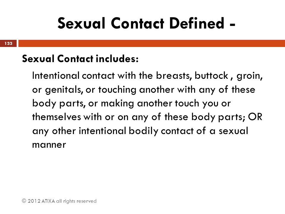 Sexual Contact Defined -
