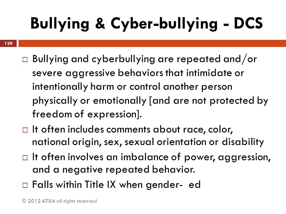 Bullying & Cyber-bullying - DCS