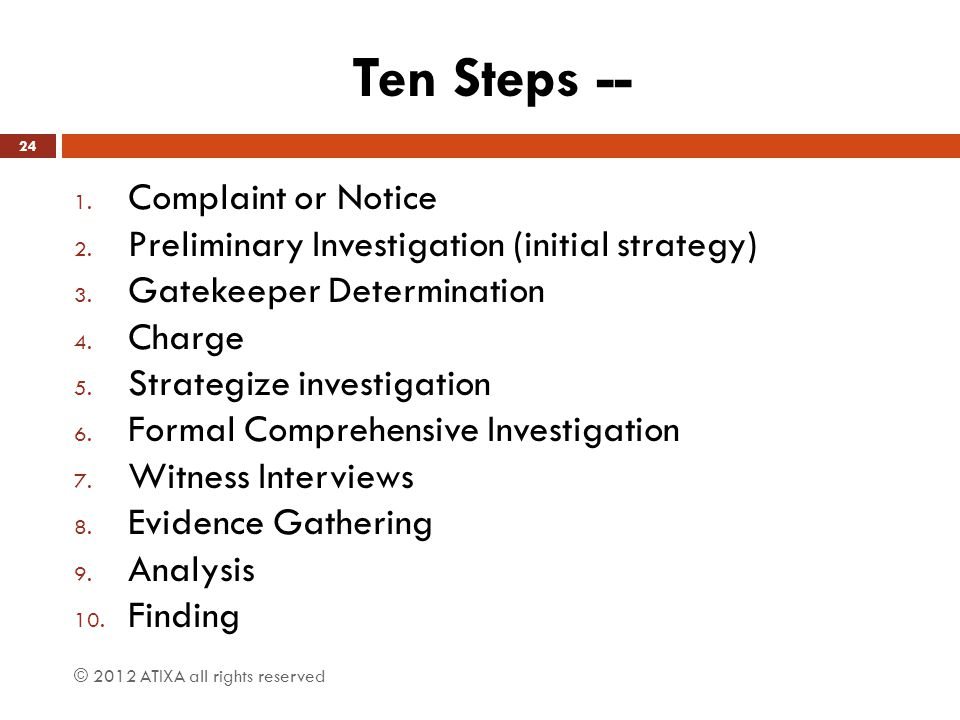 Ten Steps -- Complaint or Notice