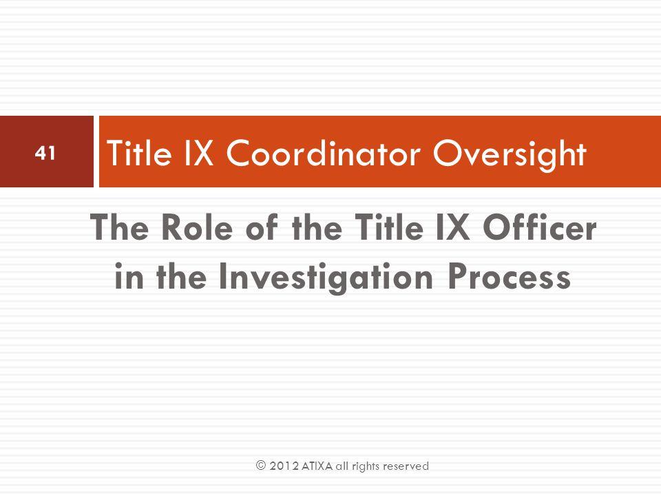 Title IX Coordinator Oversight
