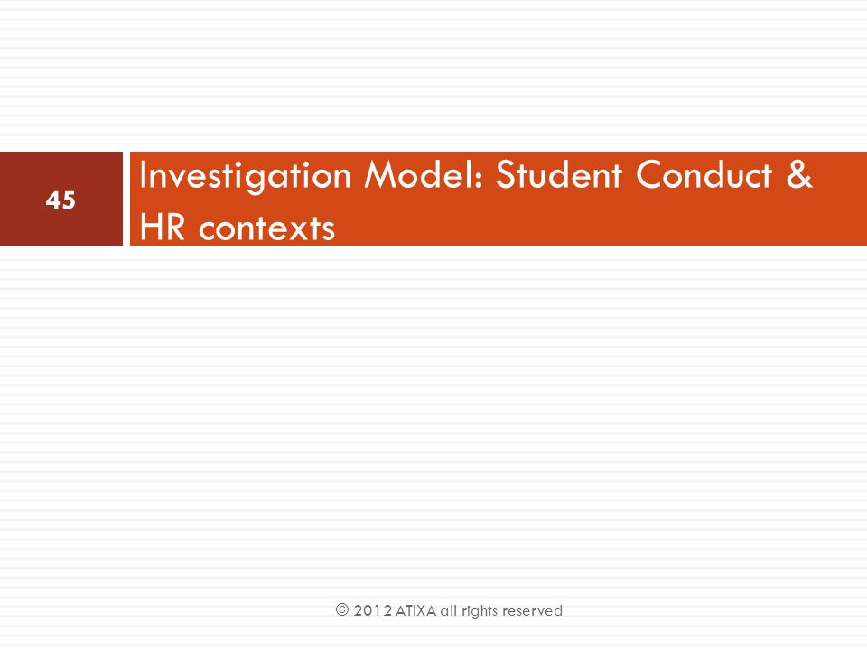 Investigation Model: Student Conduct & HR contexts