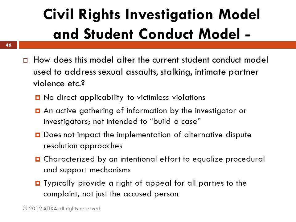 Civil Rights Investigation Model and Student Conduct Model -