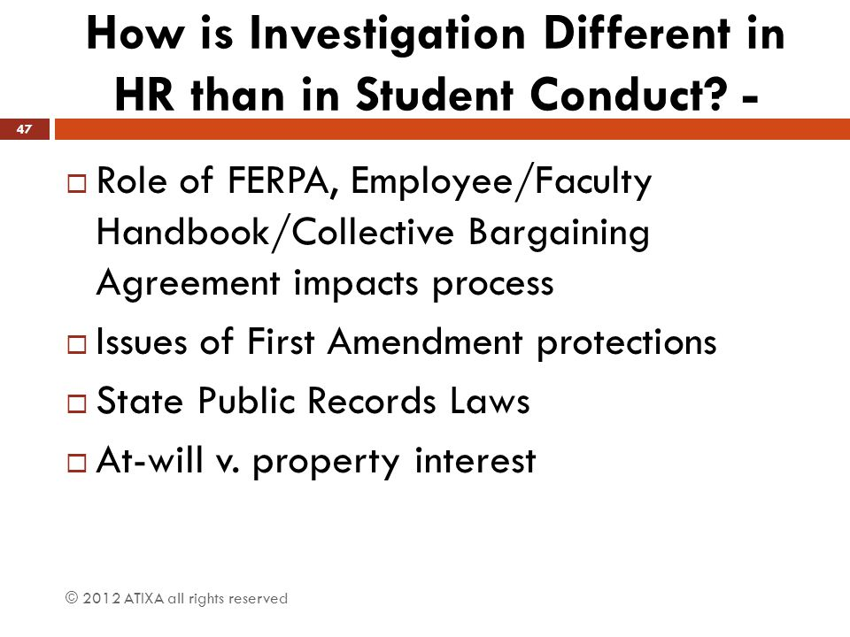 How is Investigation Different in HR than in Student Conduct -