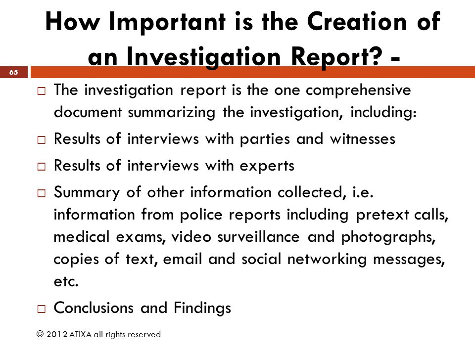 How Important is the Creation of an Investigation Report -