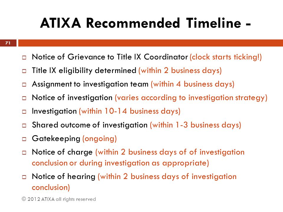 ATIXA Recommended Timeline -