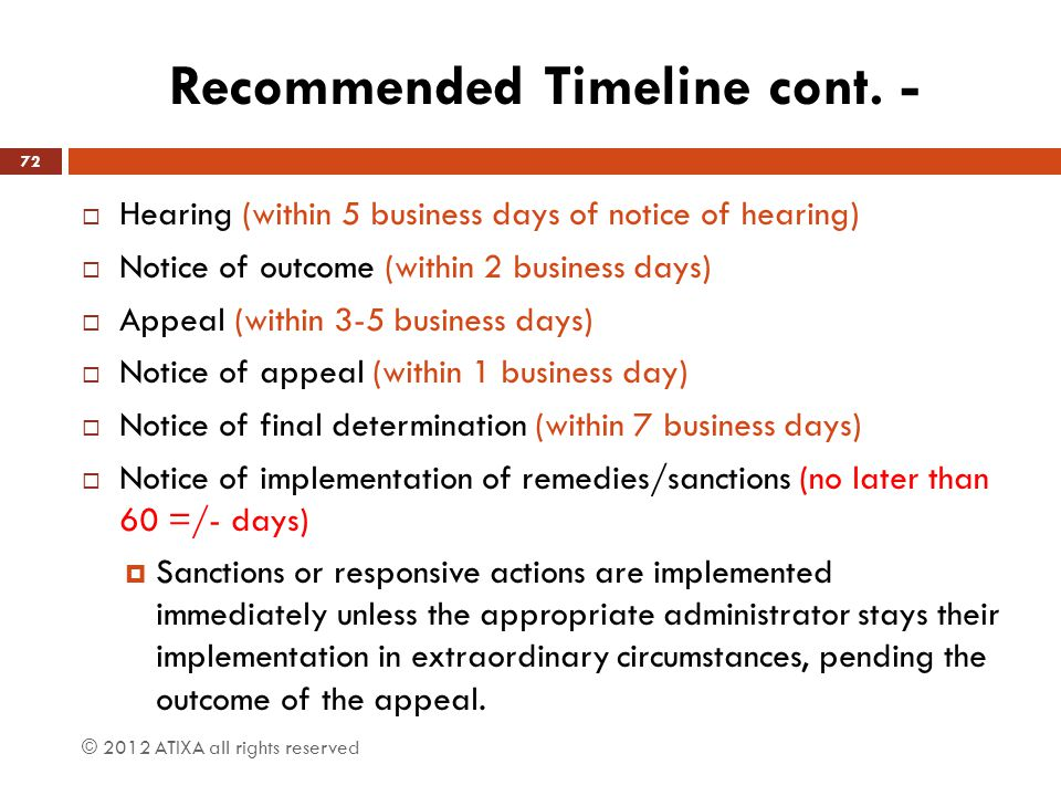 Recommended Timeline cont. -