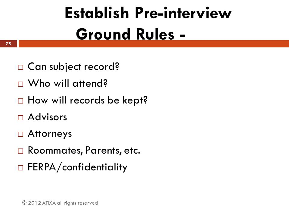Establish Pre-interview Ground Rules -