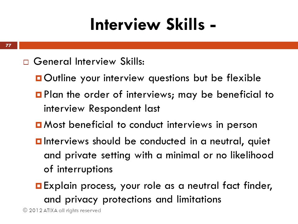 Interview Skills - General Interview Skills: