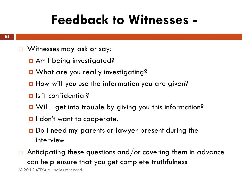 Feedback to Witnesses -
