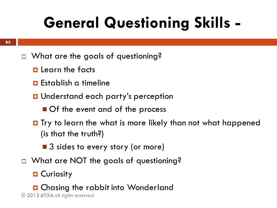 General Questioning Skills -