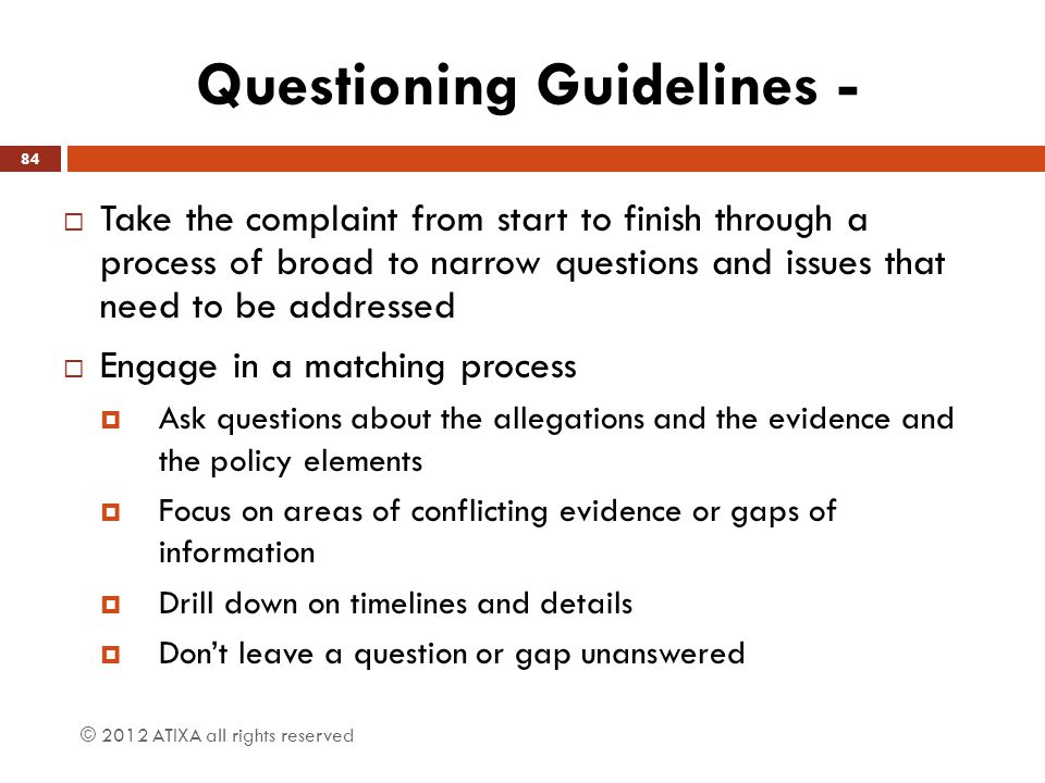 Questioning Guidelines -