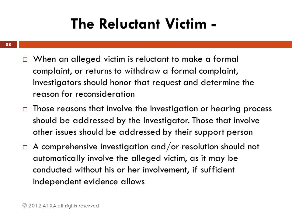 The Reluctant Victim -