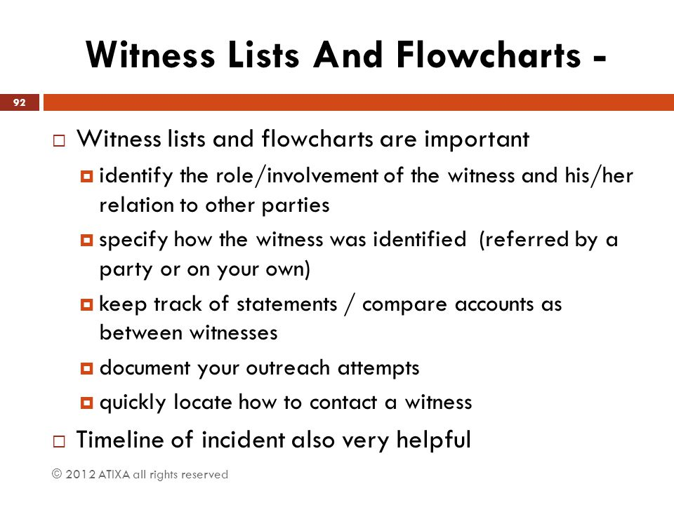 Witness Lists And Flowcharts -