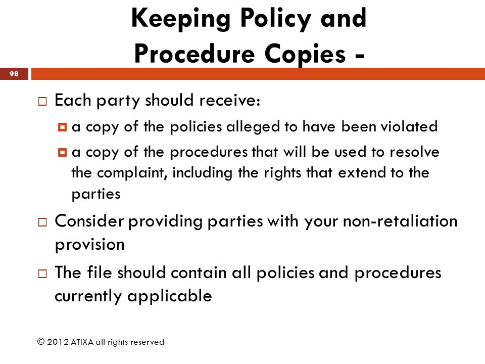 Keeping Policy and Procedure Copies -