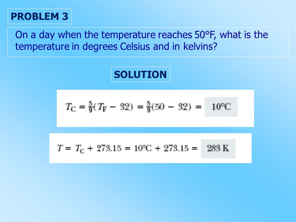 PROBLEM 3 On a day when the temperature reaches 50°F, what is the temperature in degrees Celsius and in kelvins