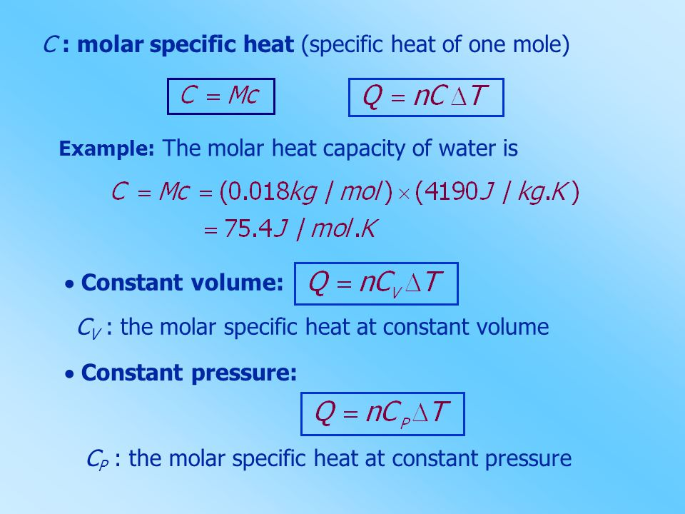 heat capacity at constant volume and pressure their relationship