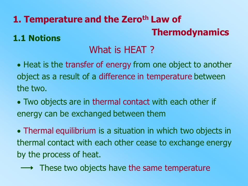 What is HEAT 1. Temperature and the Zeroth Law of Thermodynamics
