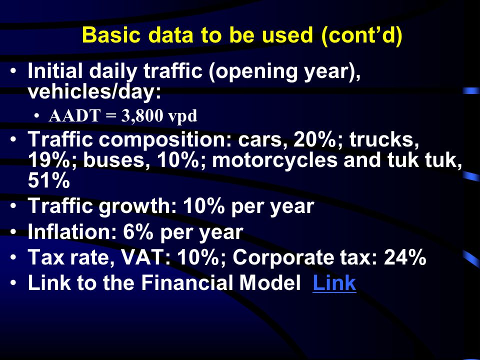 Basic data to be used (cont'd)