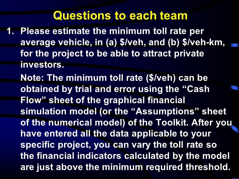 Questions to each team