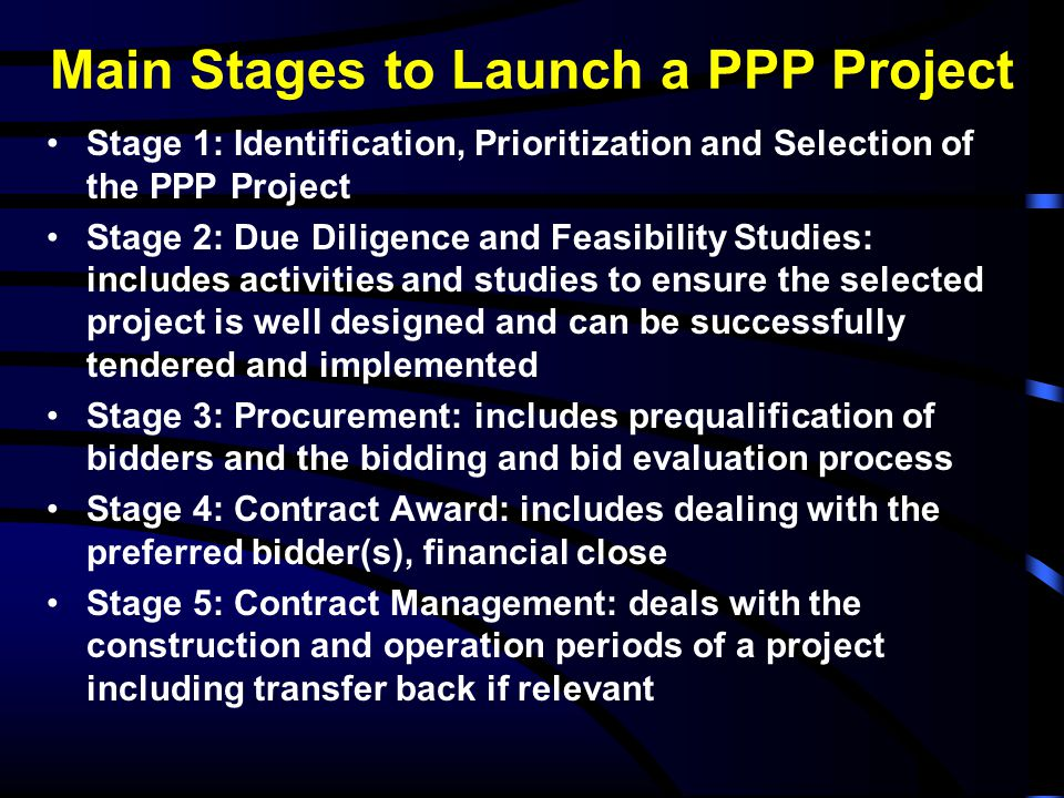 Main Stages to Launch a PPP Project
