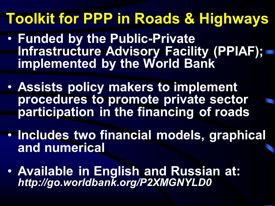 Toolkit for PPP in Roads & Highways