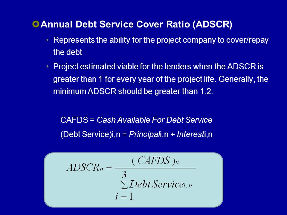 Annual Debt Service Cover Ratio (ADSCR)