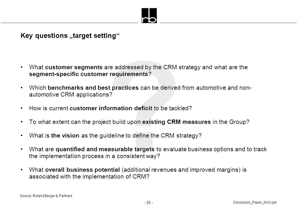 "Key questions ""target setting"