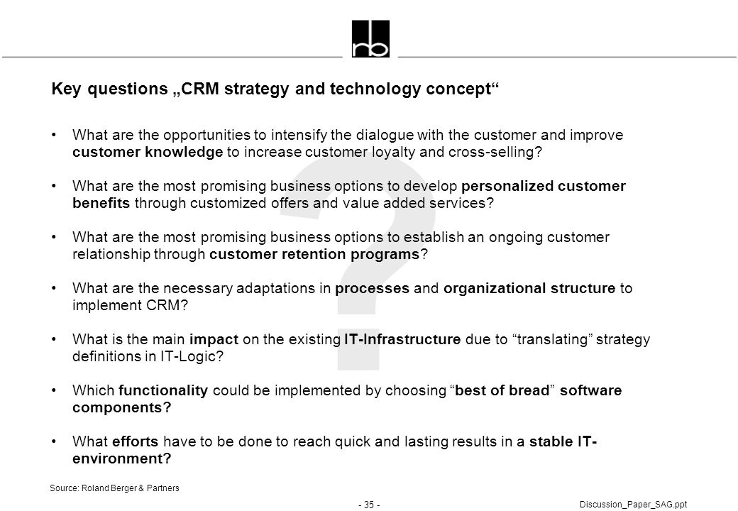 "Key questions ""CRM strategy and technology concept"