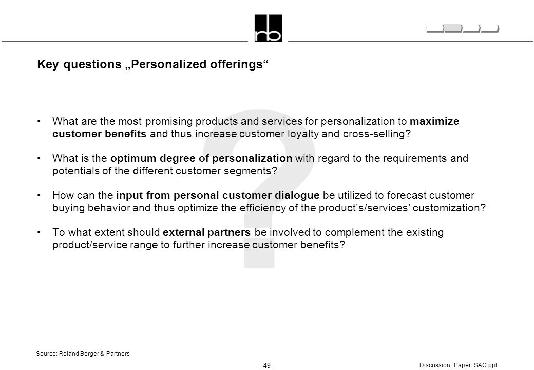 "Key questions ""Personalized offerings"