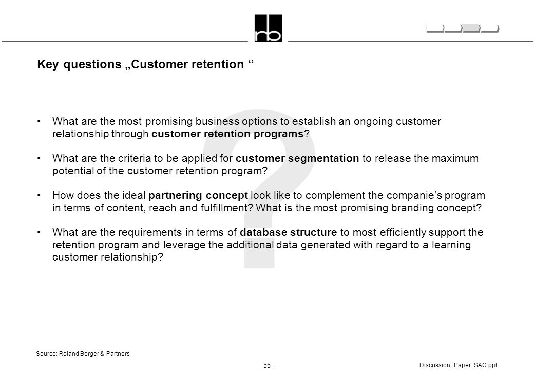 "Key questions ""Customer retention"