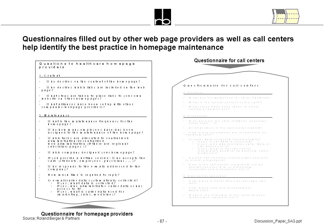 Questionnaire for call centers Questionnaire for homepage providers