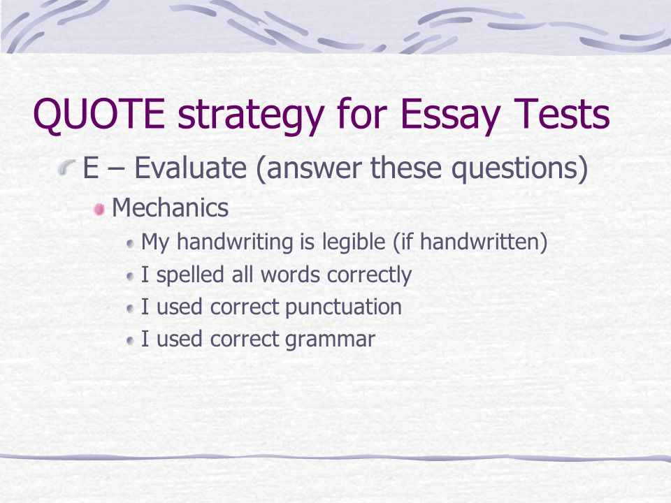 strategies of answering essay questions September 29, 2017 reading time: 7 minutes tips for answering the university of california application essay questions.
