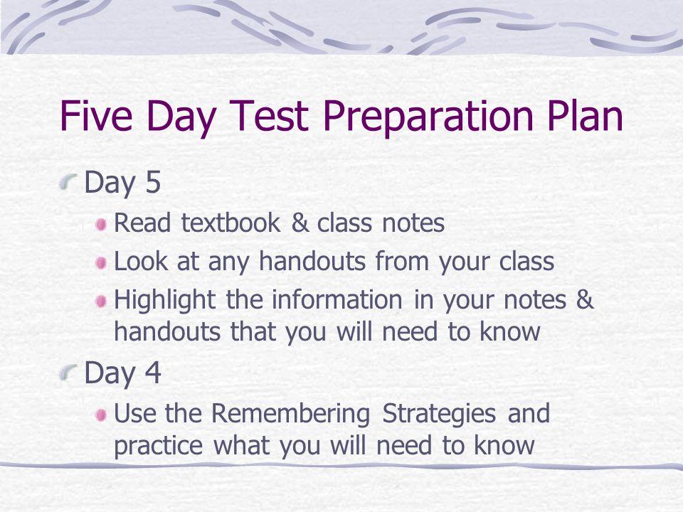 Five Day Test Preparation Plan