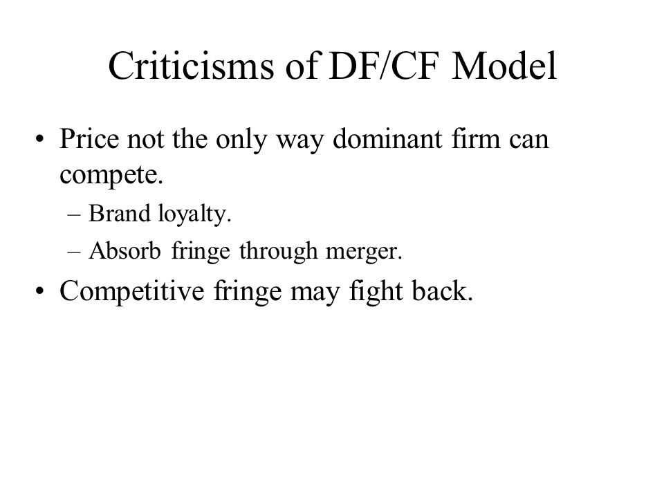 Criticisms of DF/CF Model