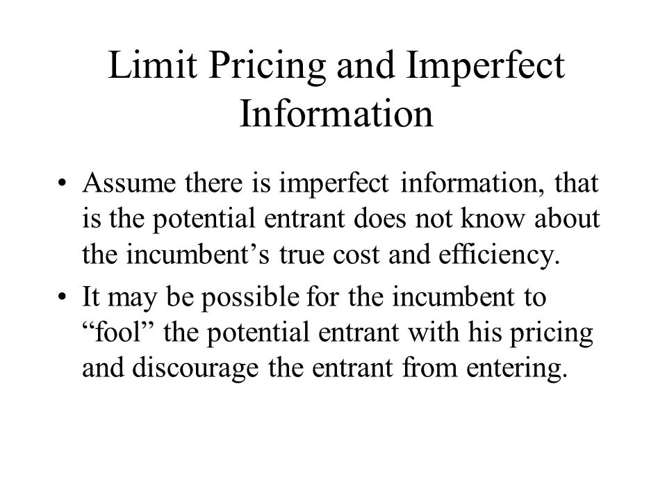 Limit Pricing and Imperfect Information