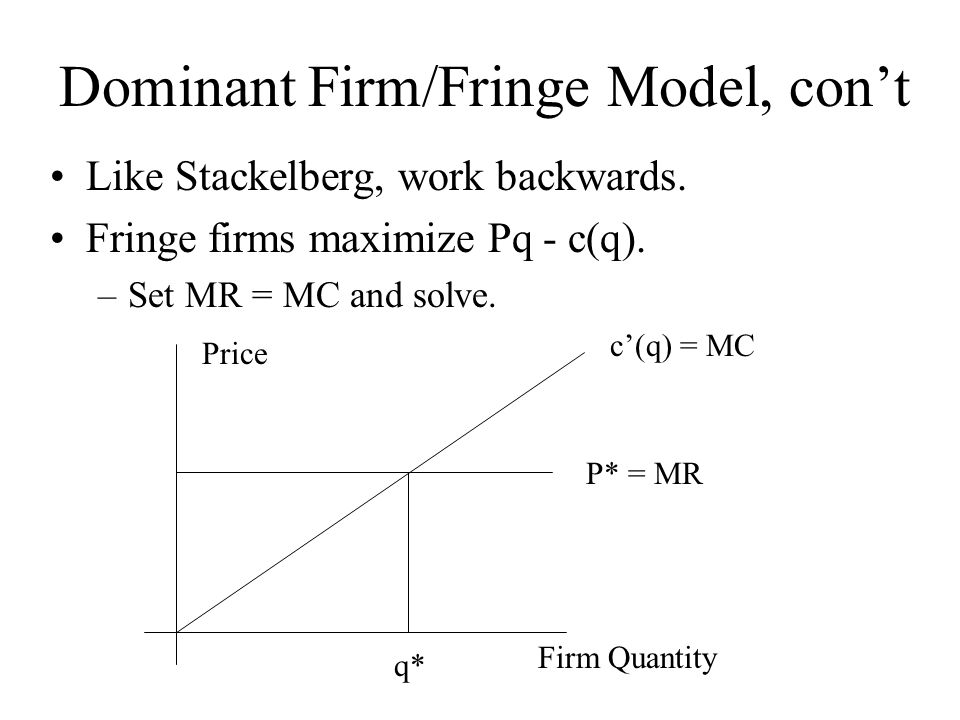 Dominant Firm/Fringe Model, con't