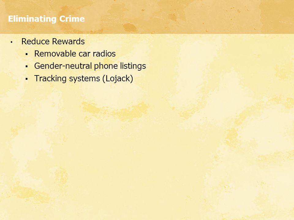 Eliminating Crime Reduce Rewards. Removable car radios.