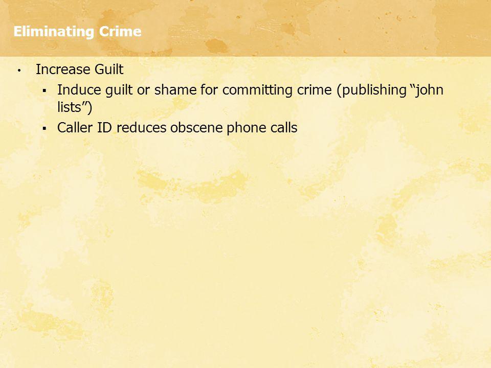Eliminating Crime Increase Guilt. Induce guilt or shame for committing crime (publishing john lists )