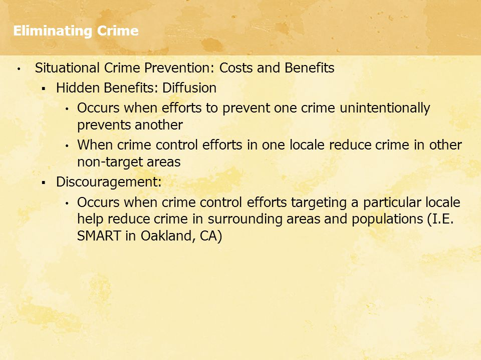 Eliminating Crime Situational Crime Prevention: Costs and Benefits. Hidden Benefits: Diffusion.