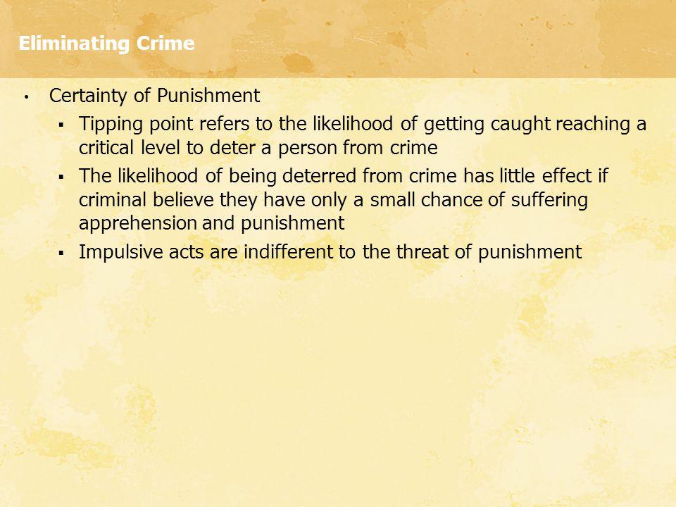 Eliminating Crime Certainty of Punishment.