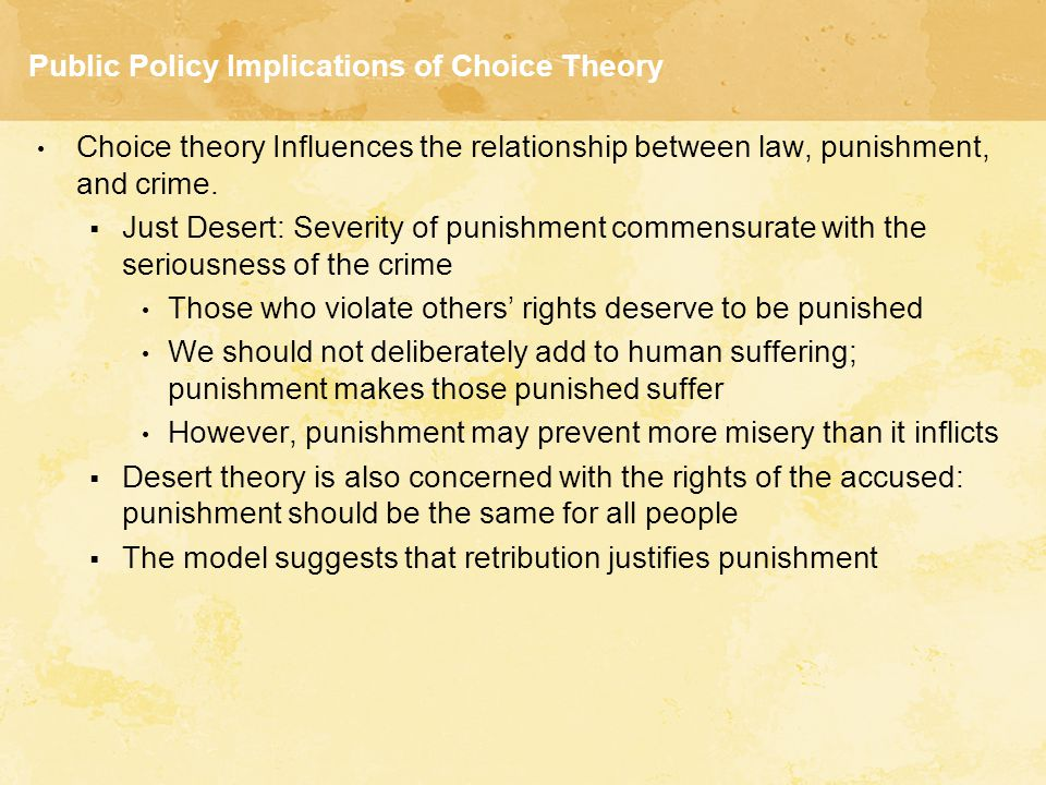 Public Policy Implications of Choice Theory