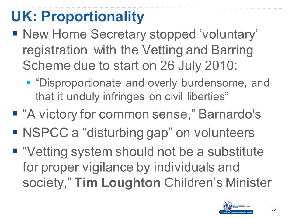 UK: Proportionality New Home Secretary stopped 'voluntary' registration with the Vetting and Barring Scheme due to start on 26 July 2010: