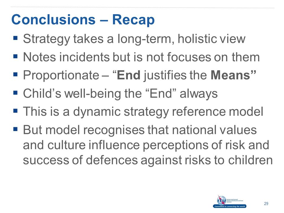Conclusions – Recap Strategy takes a long-term, holistic view