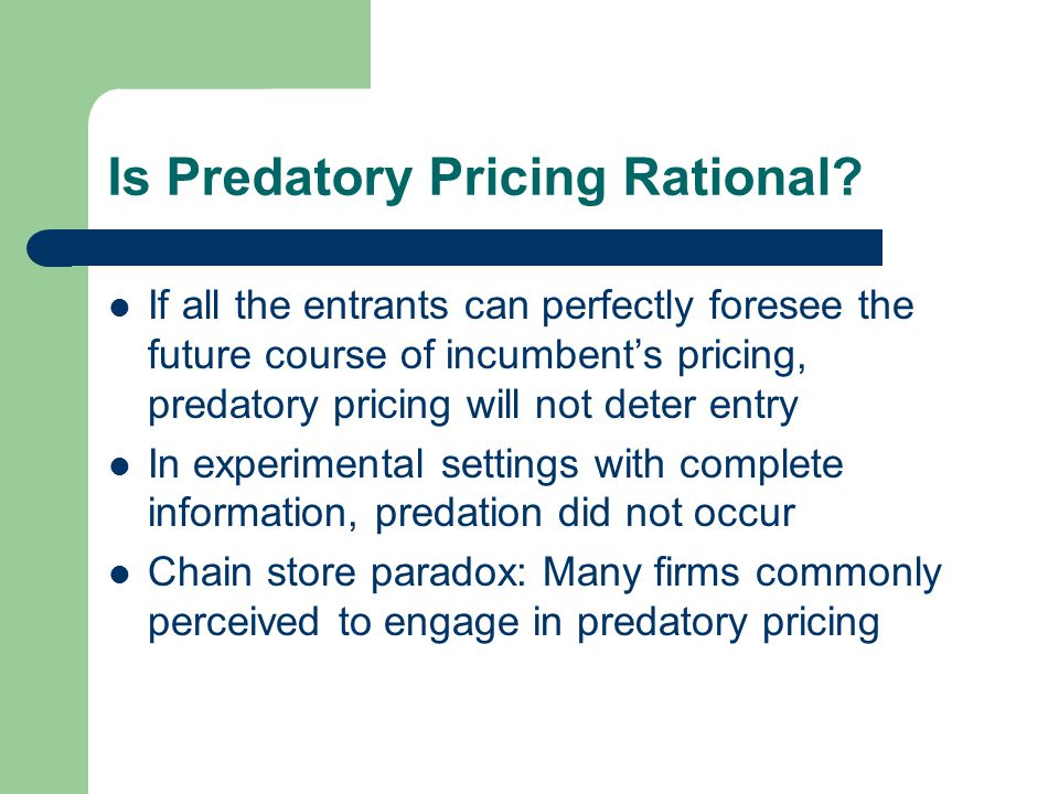 Is Predatory Pricing Rational